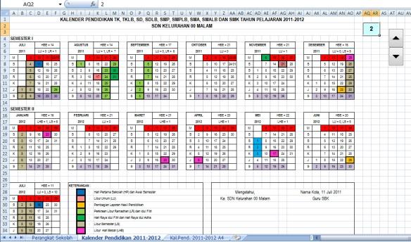 Blanko Kalender Pendidikan TP 2011-2012